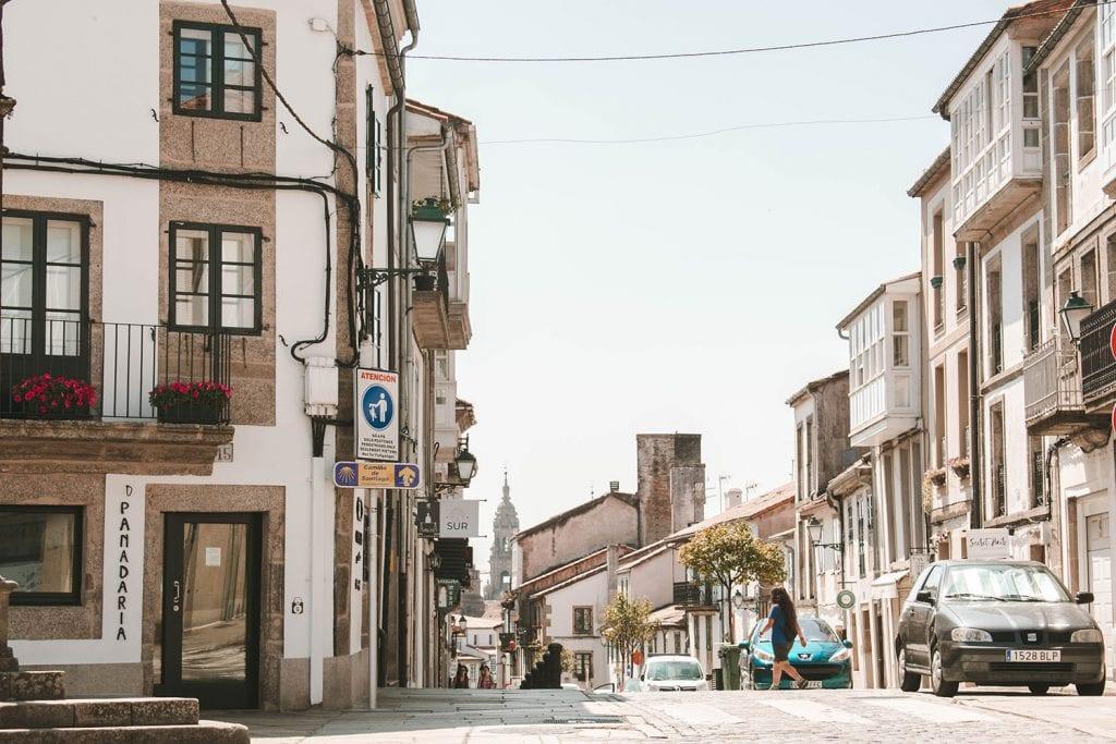 Entering the city of Santiago de Compostela on the Camino de Santiago route