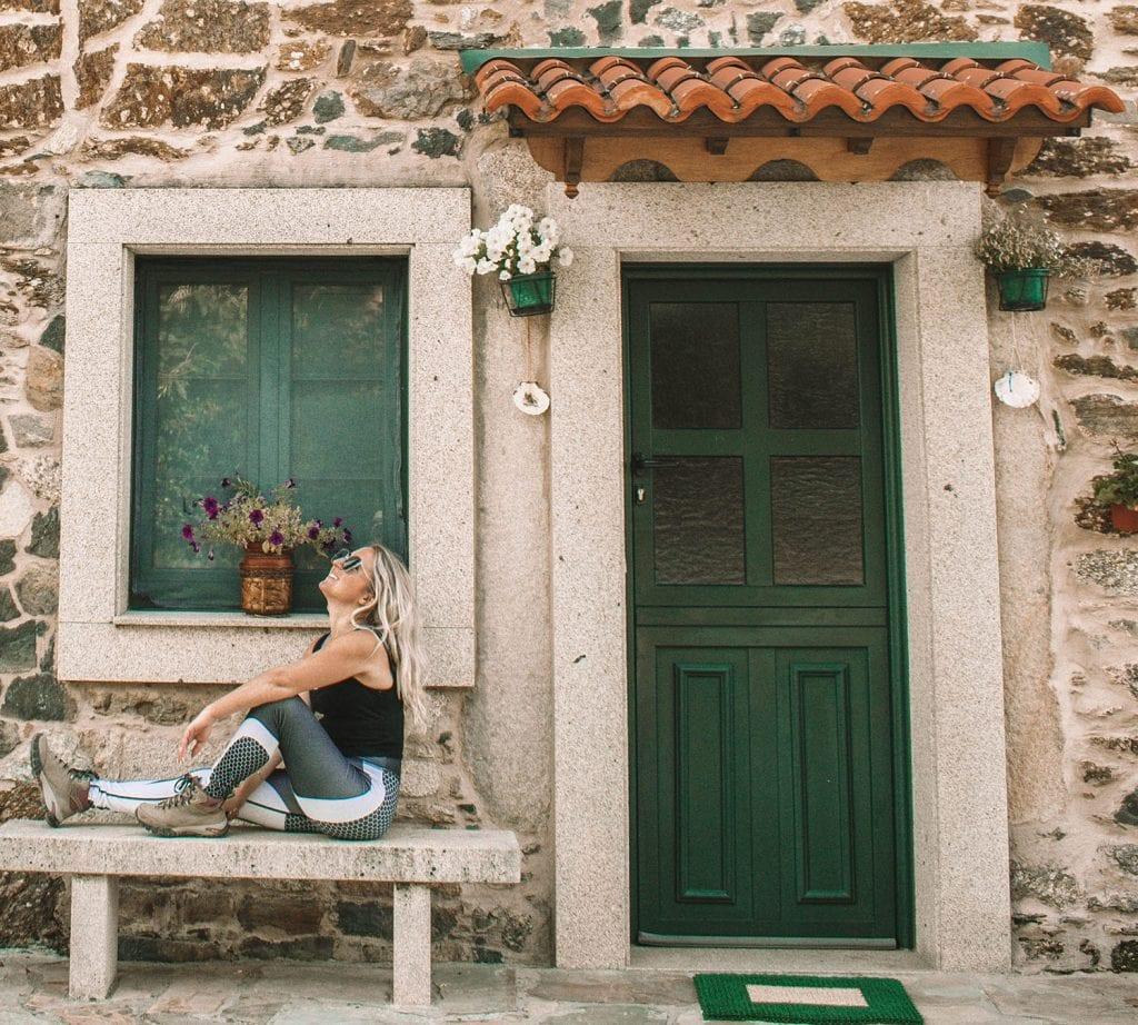 A woman enjoying her journey along the Camino de Santiago