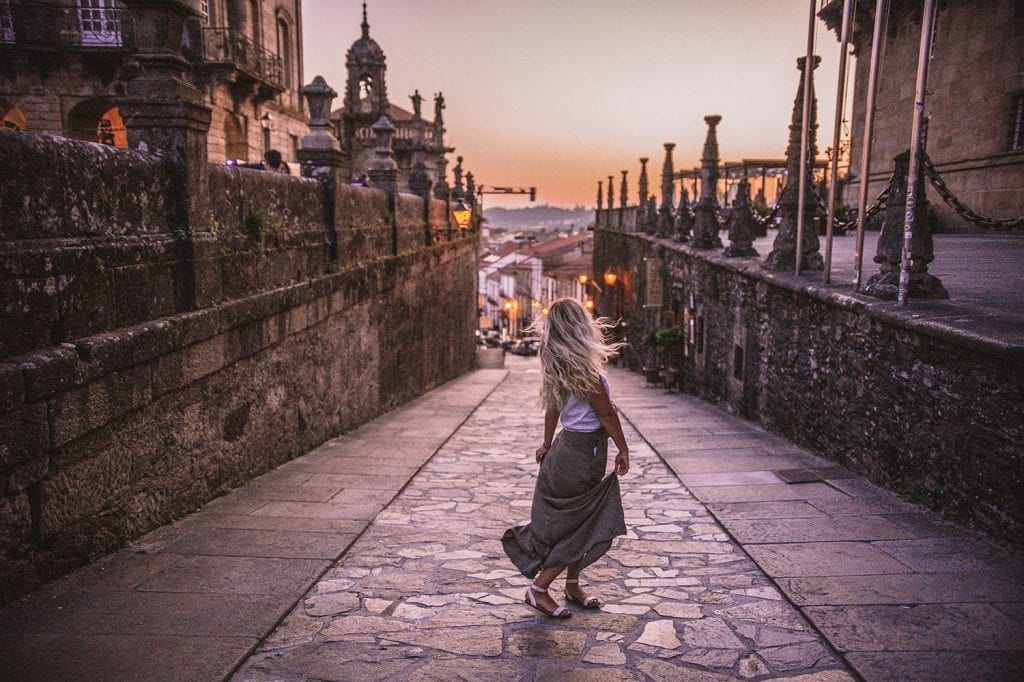 A woman enjoying sunset in Santiago de Compostela