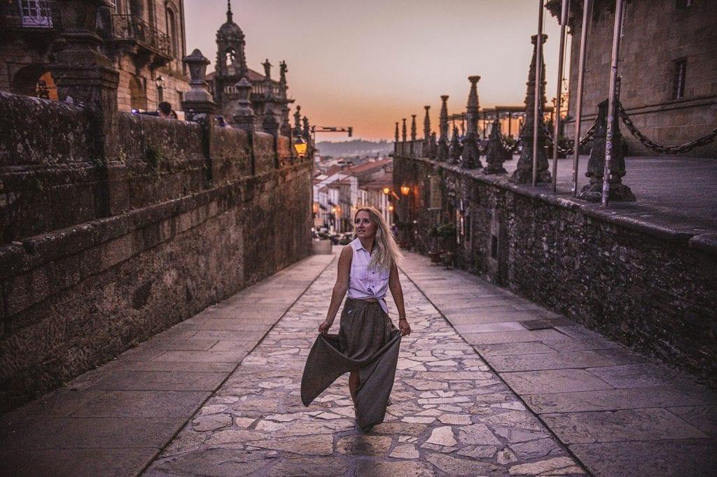 A beautiful evening sunset in Santiago de Compostela