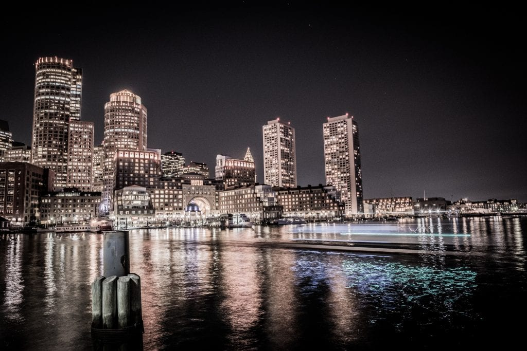 Boston lit up at night