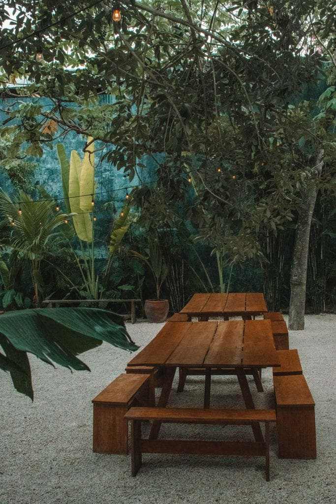 The backyard at Casa Pueblo boutique hotel in Tulum