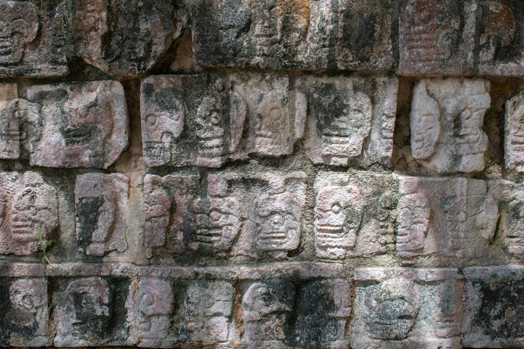The Wall of Skulls at Chichen Itza in Mexico