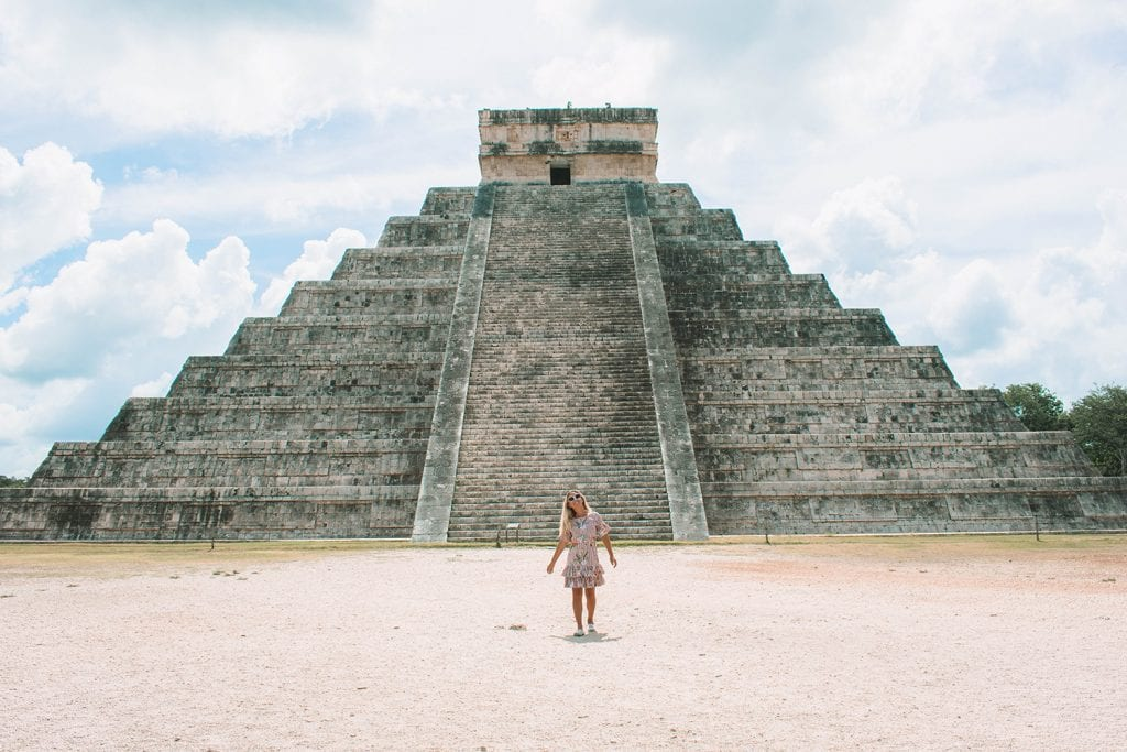 A woman at Chichen Itza in Mexico