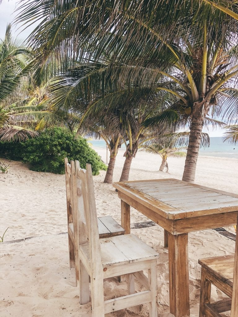 The beach seating at Casa Malca