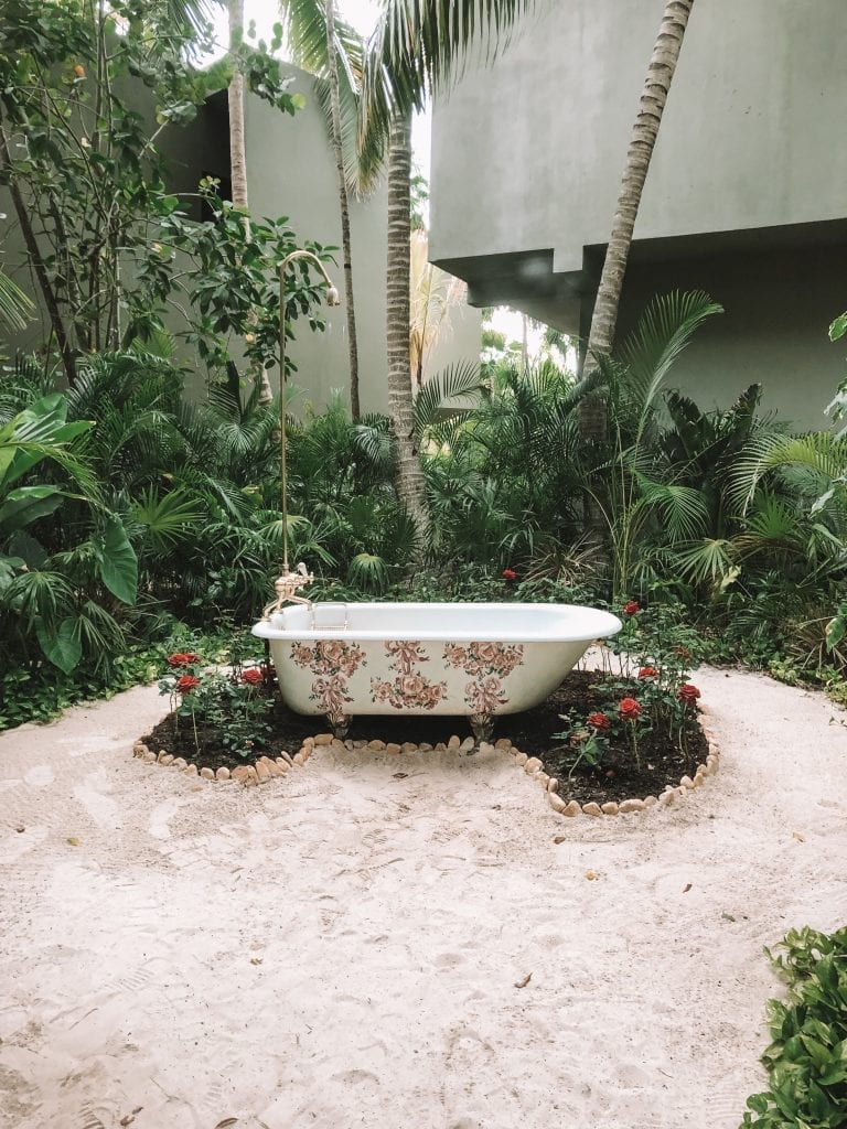 A vintage bathtub at Casa Malca