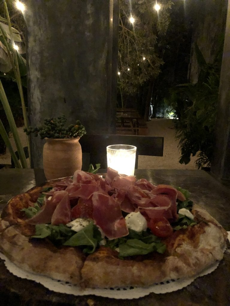 A pizza from Casa Pueblo boutique hotel in Tulum