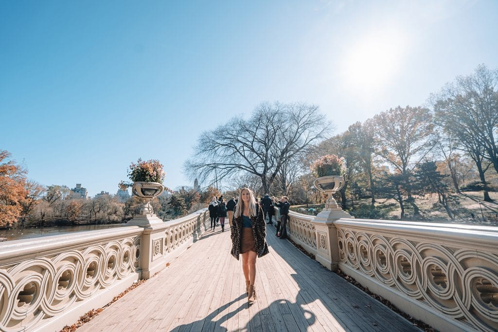 A woman wandering through Central Park
