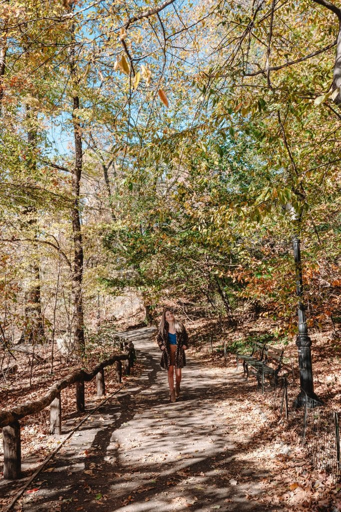 A woman walking through a forested path in Central Park in New York City