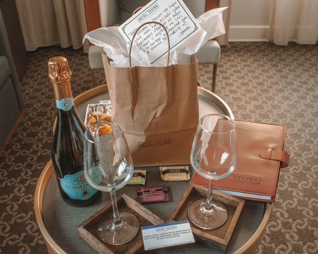 Welcome gifts at Hotel Teatro in Denver