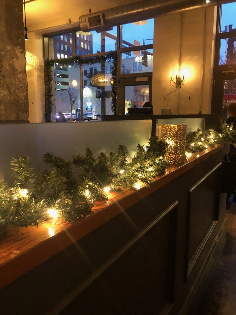 A restaurant decorated for Christmas in Denver