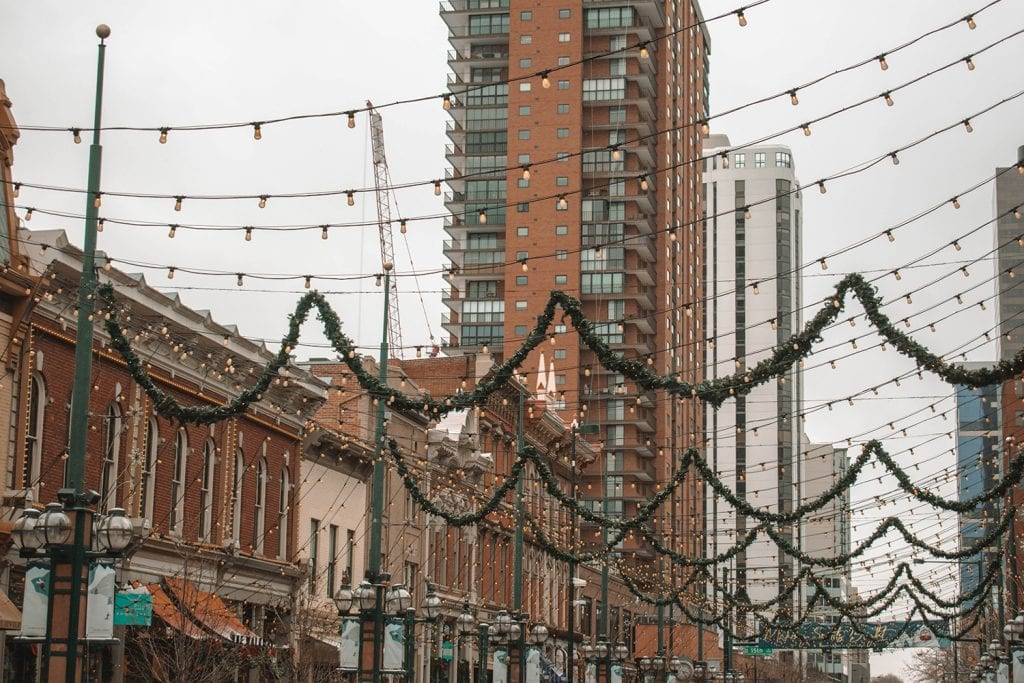 Larimer Square in Denver during winter