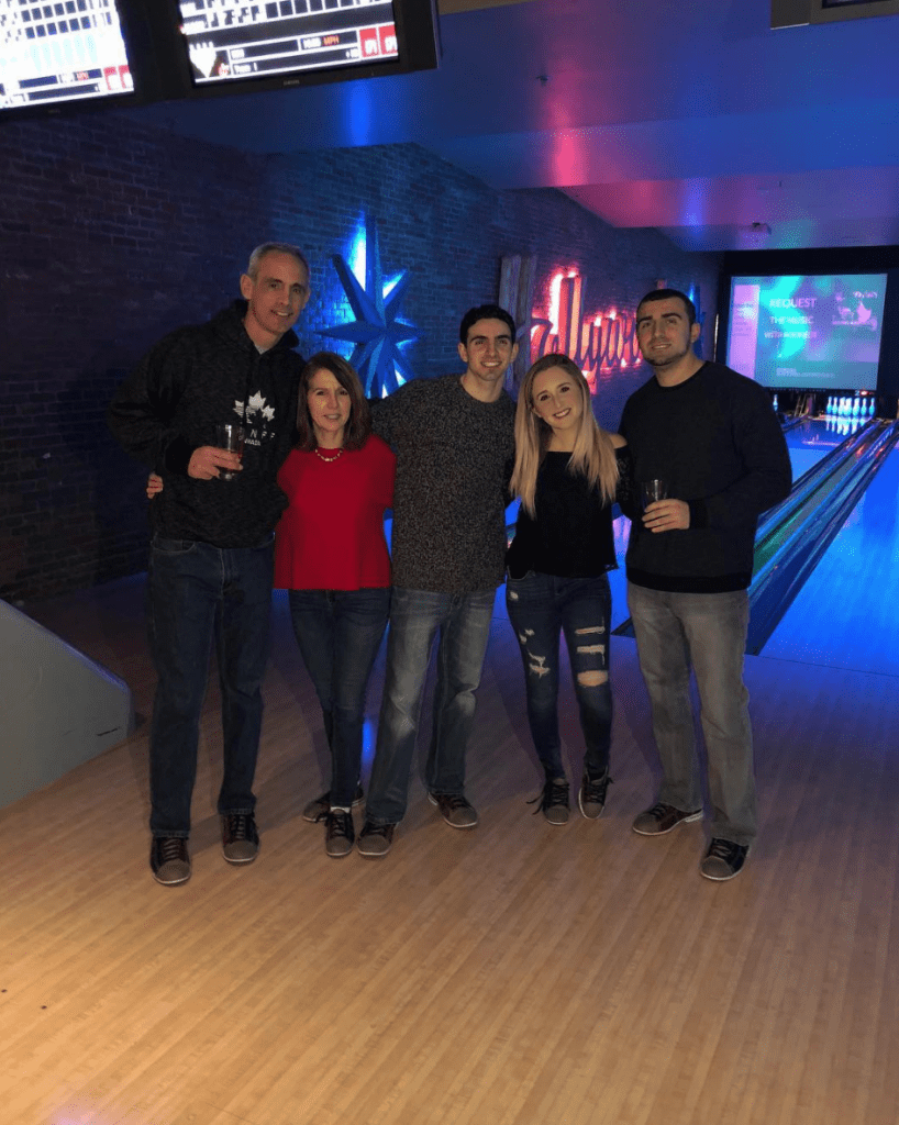 A family at Lucky Strike in New York City