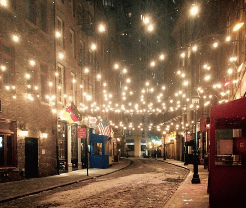 Stringed lights on Stone Street in the Financial District of New York City