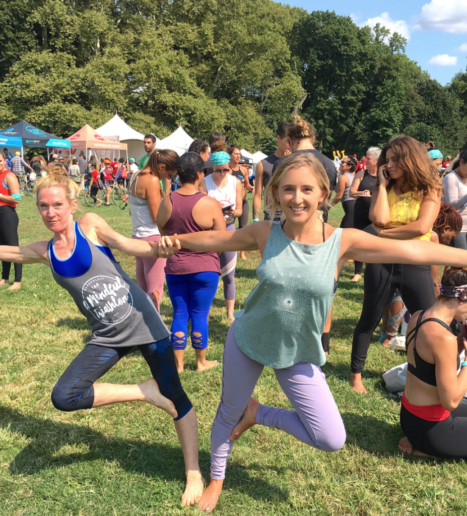 Two women doing yoga at Wanderlust in Brooklyn in New York City