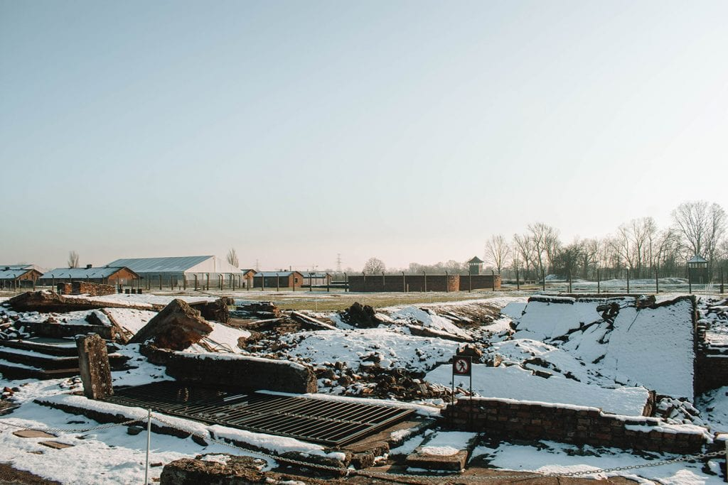 Torn down crematoriums at Birkenau