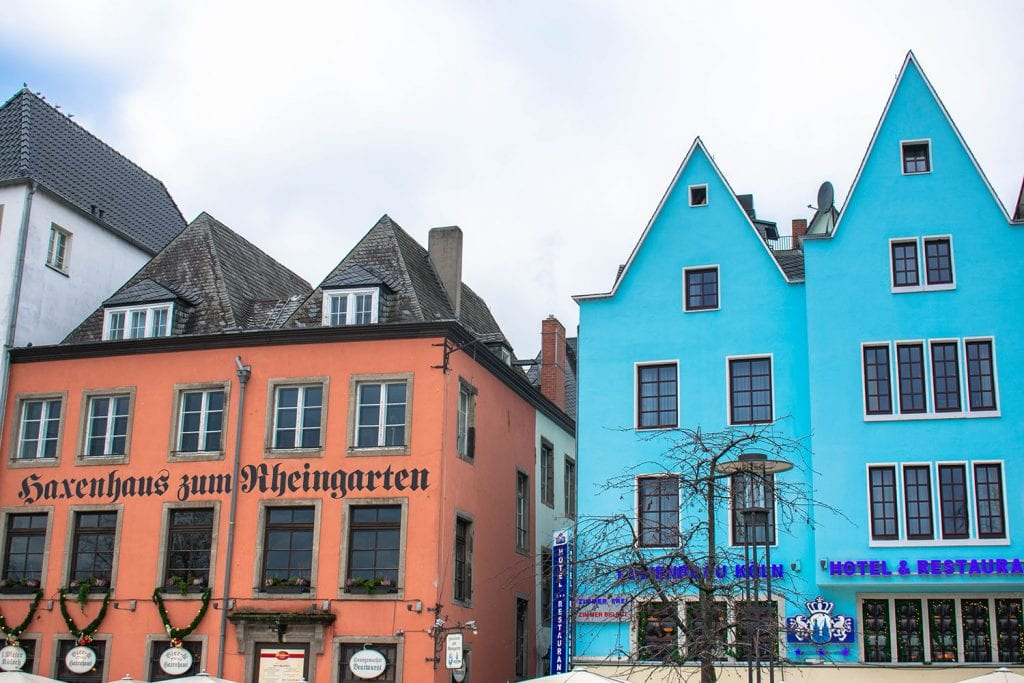 Colorful houses along the Rhine River in Cologne