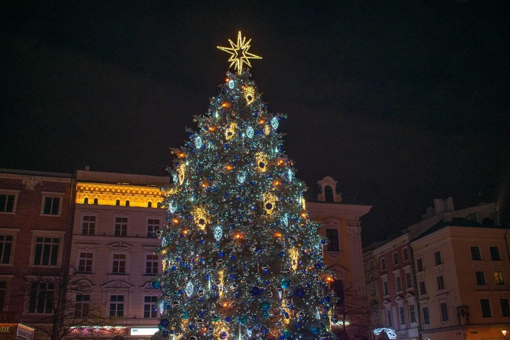 A beautiful Christmas tree in Krakow, Poland during December