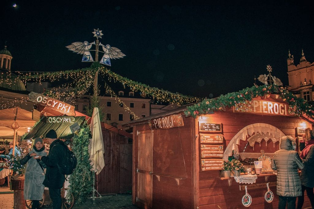 A pierogi stand at the Krakow Christmas market