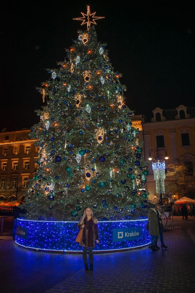 A woman enjoying the Polish Christmas markets in Krakow