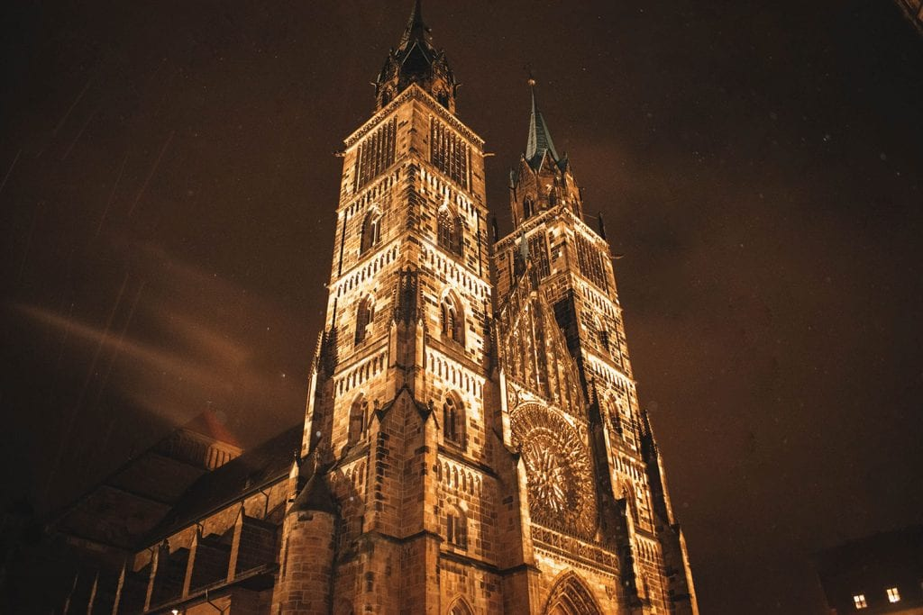 A church in Nuremberg lit up at night