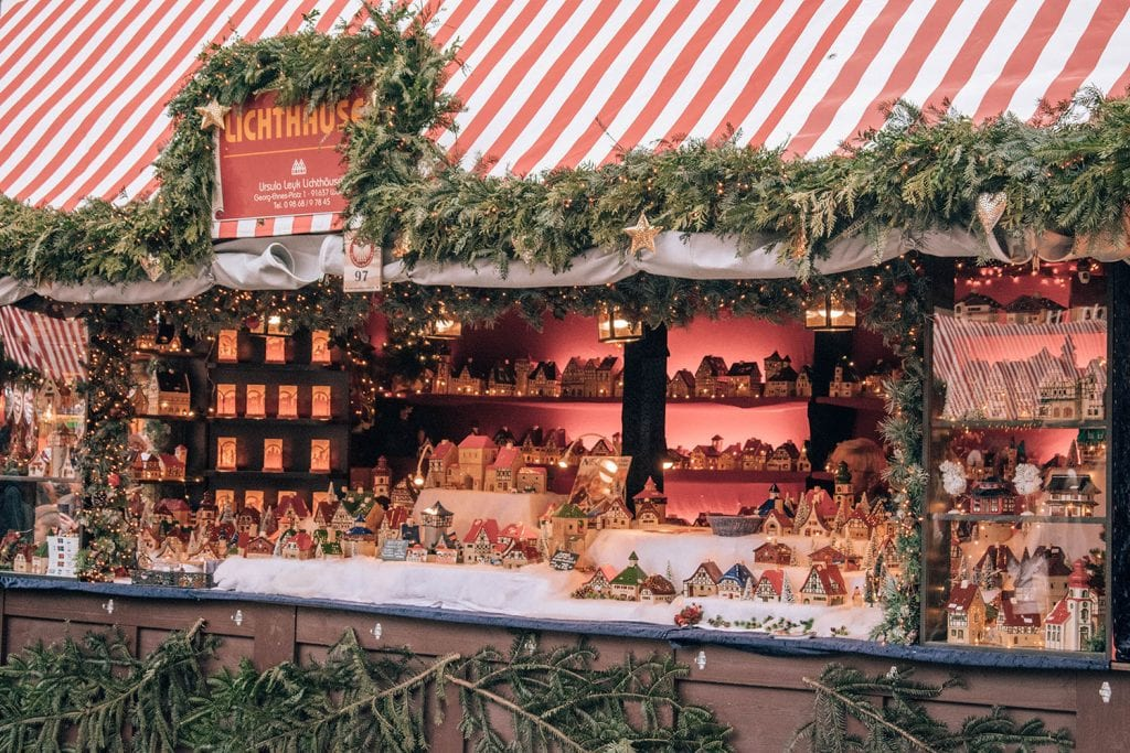 The Christmas market stands in Nuremberg, Bavaria