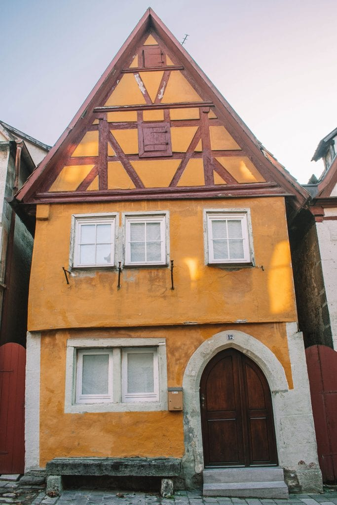 A higgley-piggley house in Rothenburg, Germany