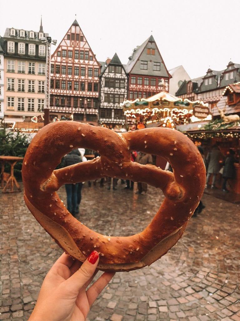 A German pretzel from the Frankfurt Christmas Markets