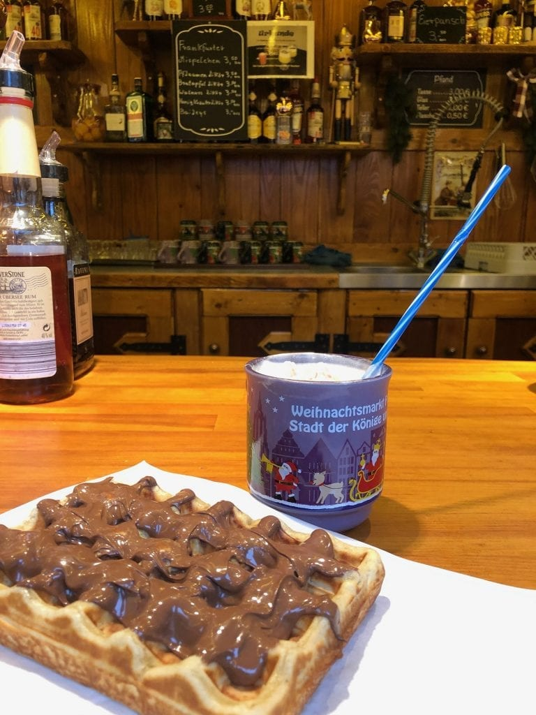 A waffle and hot chocolate at the Frankfurt Christmas Markets