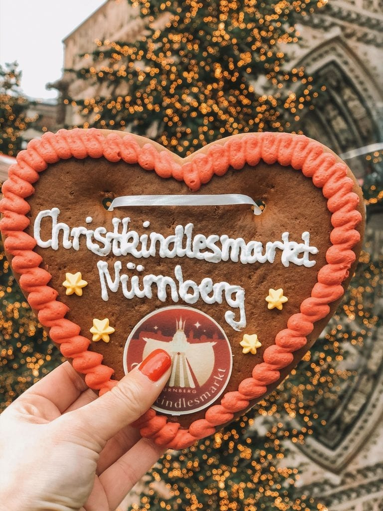 A heart-shaped gingerbread cookie from the Nuremberg Christmas Market in Bavaria