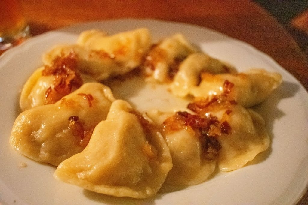 Pierogis from a traditional Polish restaurant in Krakow