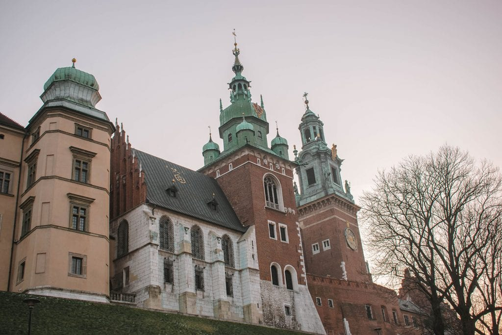 The beautiful Wawel Castle in Krakow during December