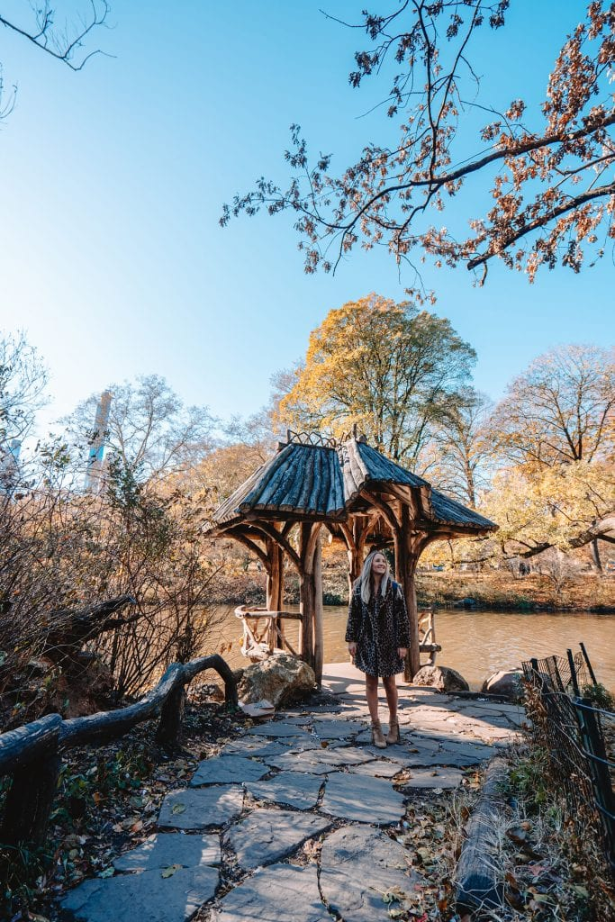 A woman at Wagner Cove in Central Park - one of the best Instagram spots