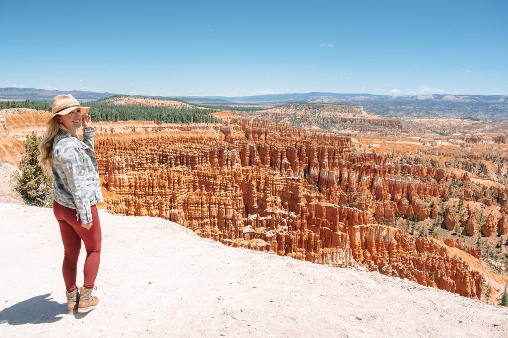 A woman enjoying the stunning views of Bryce Canyon in Utah