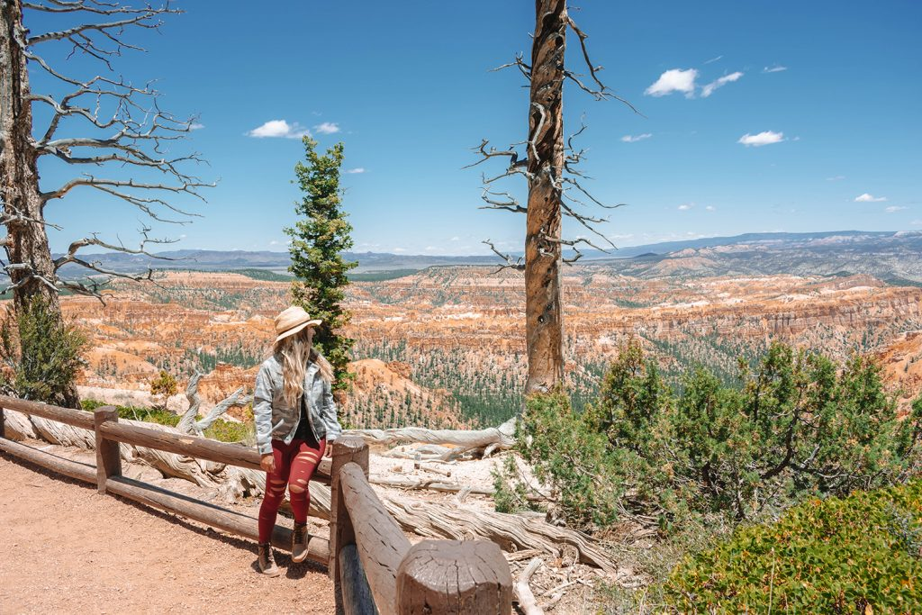 A woman enjoying the views of Bryce Canyon National Park