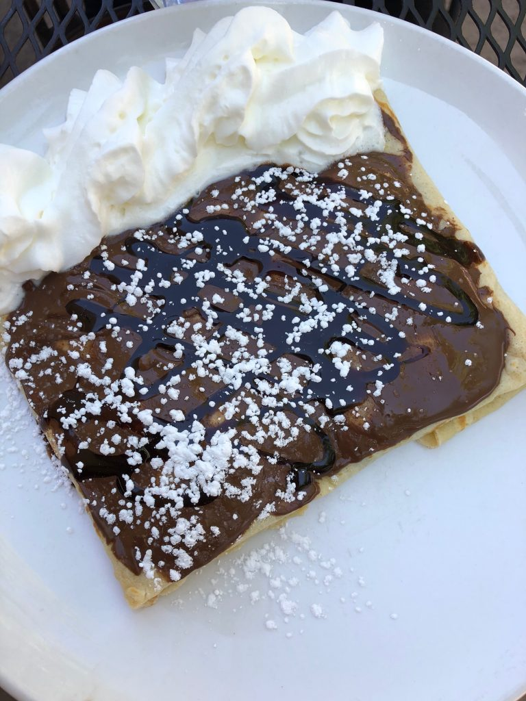A delicious chocolate crepe from a restaurant outside of Zion National Park