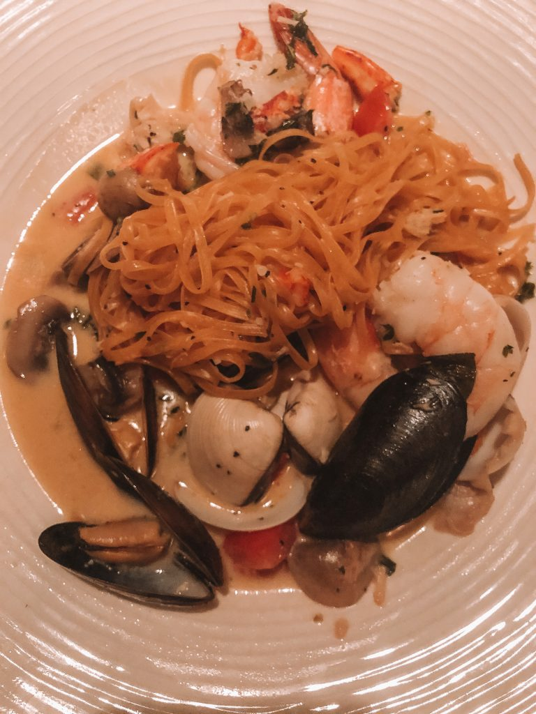 A seafood pasta dish from an Italian restaurant in Sedona