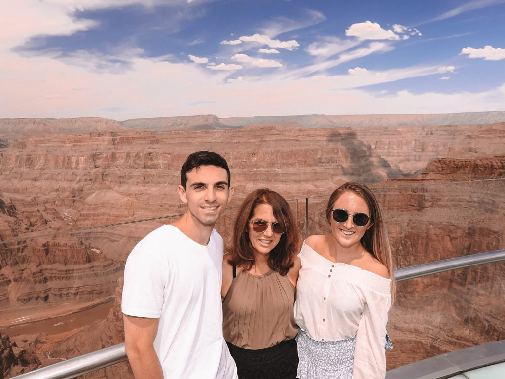 A family enjoy Grand Canyon West's Skywalk