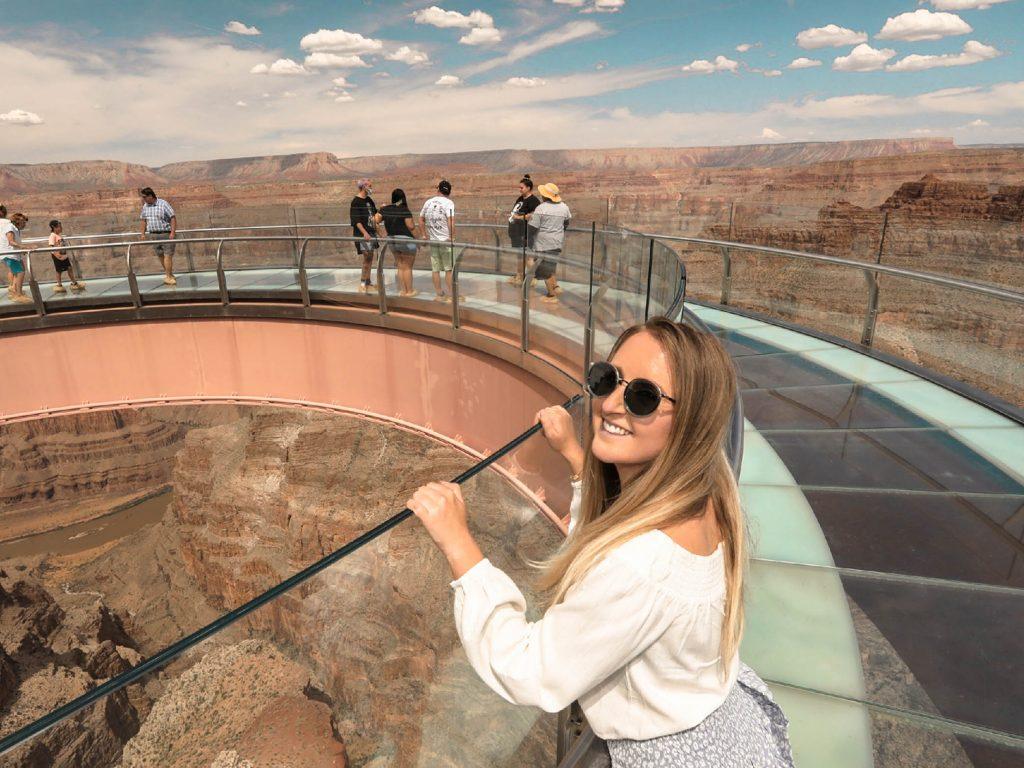 A woman admiring the views on the Skywalk