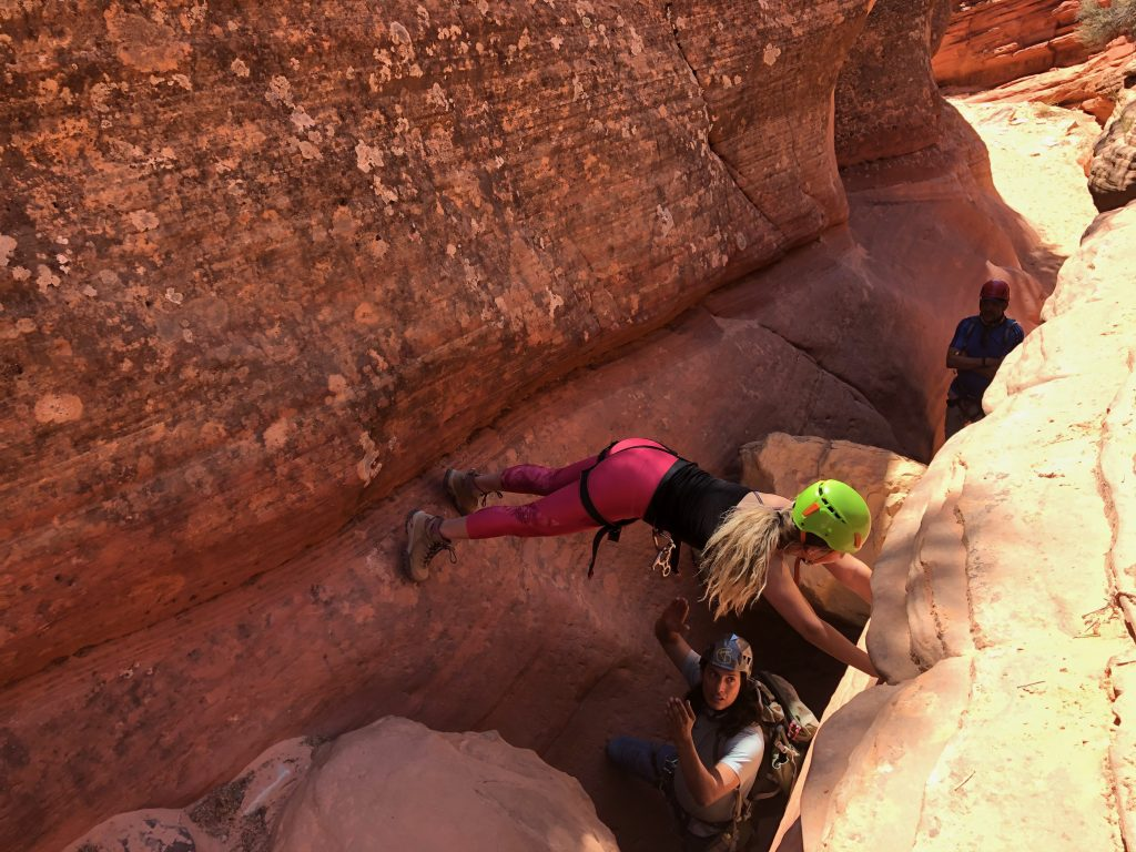 A woman canyoneering in Zion National Park