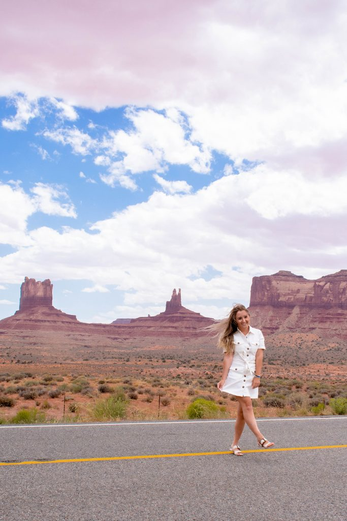 A woman enjoying her time at Monument Valley