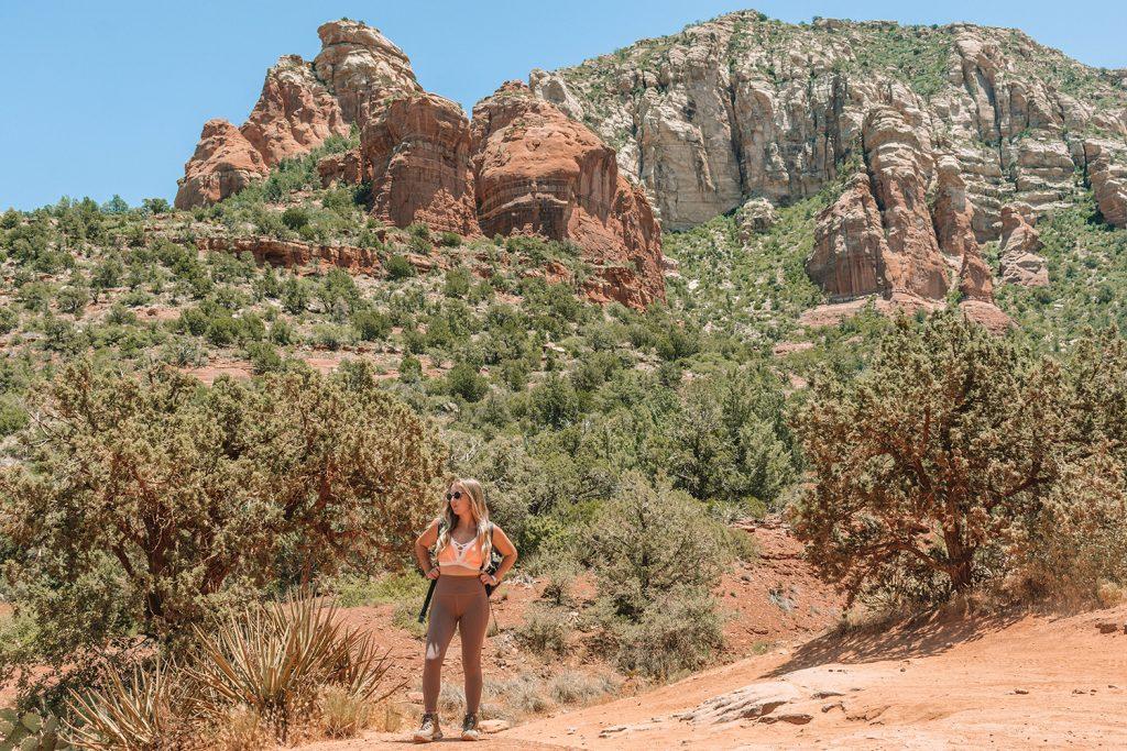 A woman enjoying a summer hike in Sedona