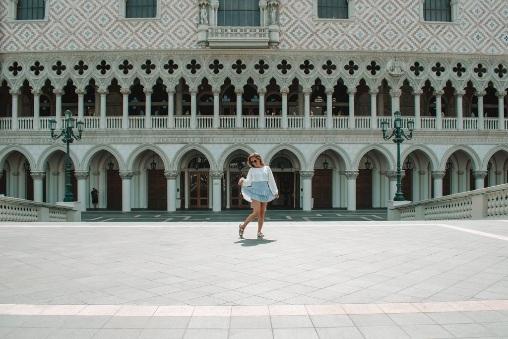 A woman enjoying the property of The Venetian Hotel in Las Vegas
