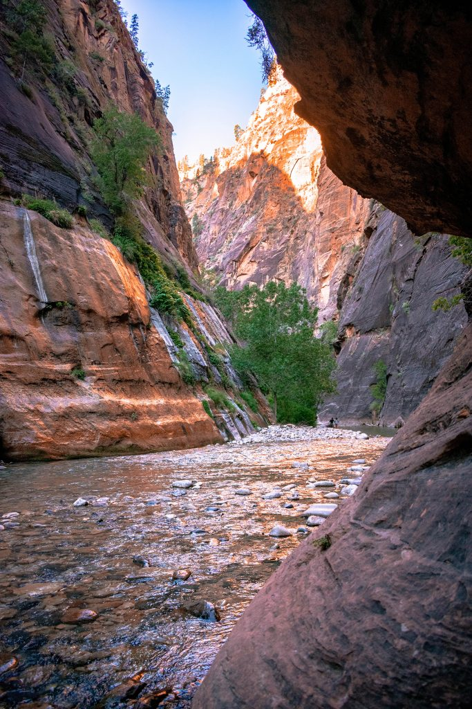 Sunrise hike in The Narrows at Zion National Park