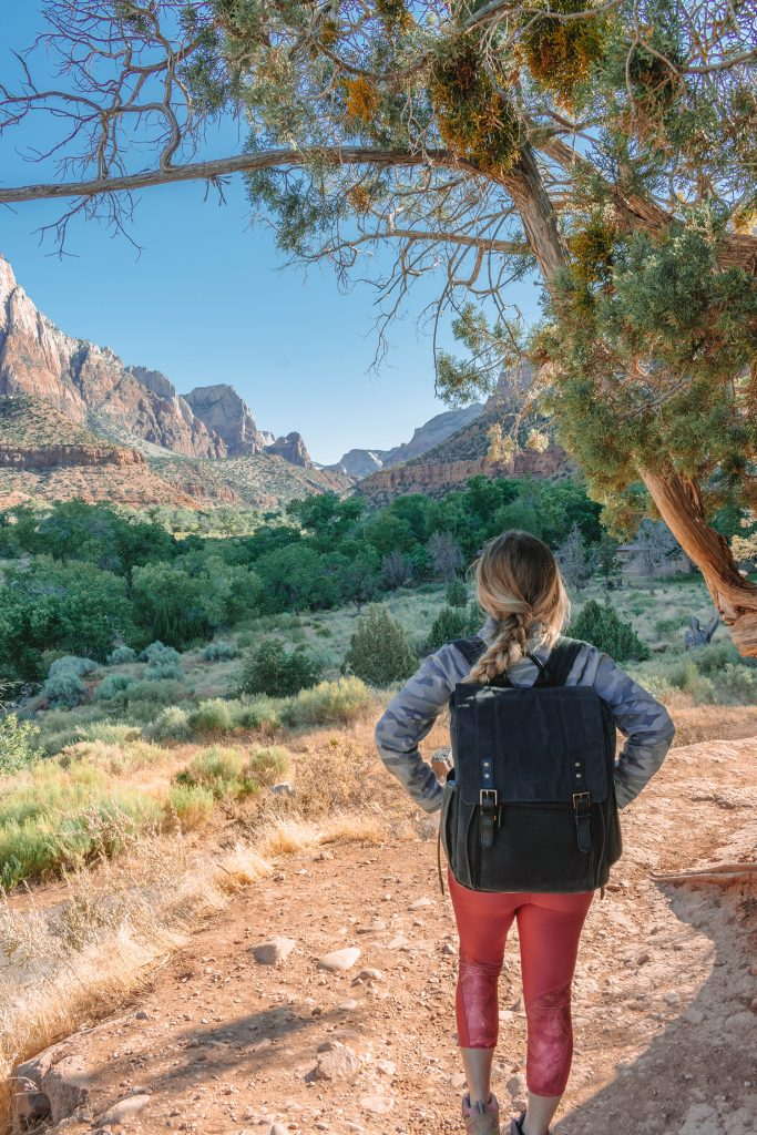 A woman enjoying the views in Zion National Park