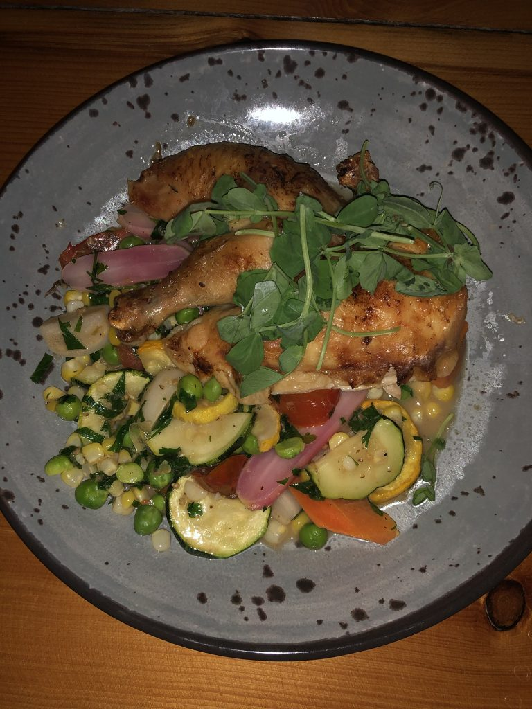 A farm-to-table chicken dinner in Newport, Rhode Island