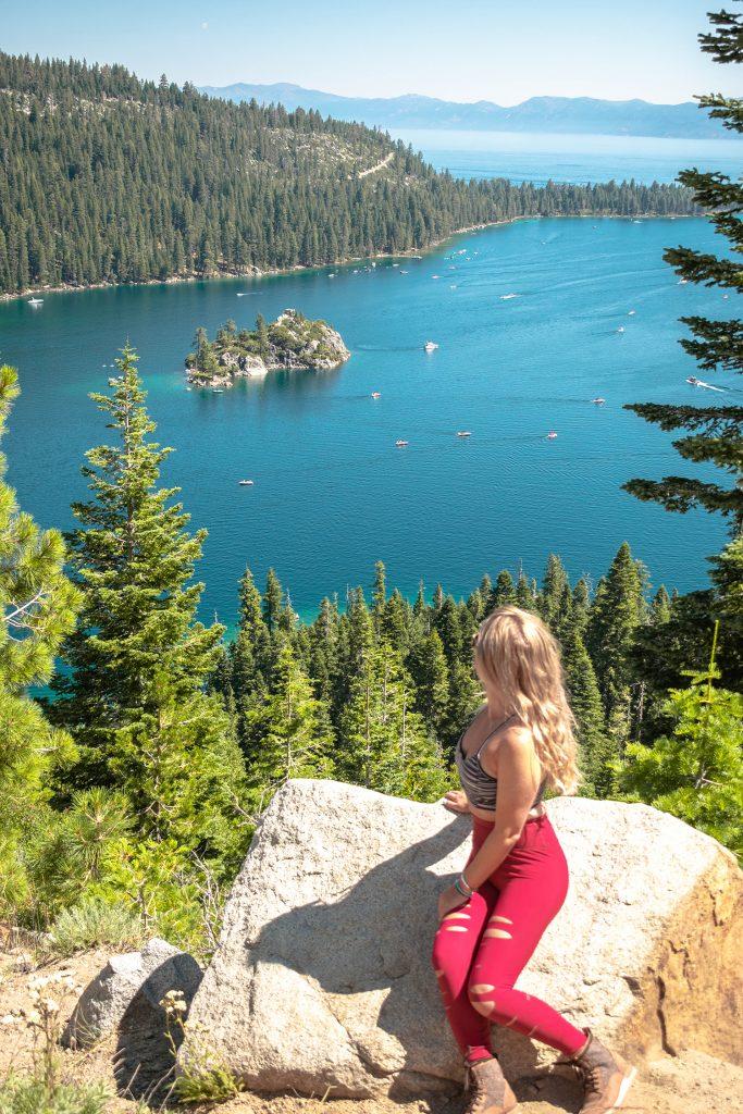 A woman enjoying the views of Emerald Bay in Lake Tahoe