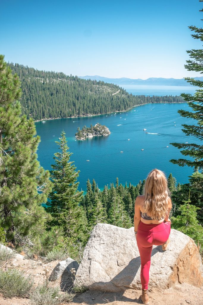 A woman hiking in Lake Tahoe, California
