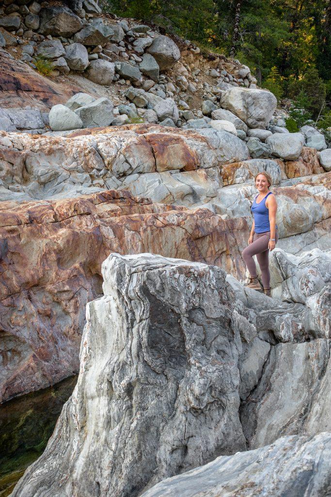 A woman enjoying a summer hike at Lake Tahoe's Emerald Pools
