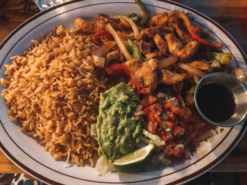 Chicken fajitas from a Mexican restaurant in Lake Tahoe
